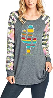 Multicolored Cactus Graphic Top with Striped Floral Long Sleeves