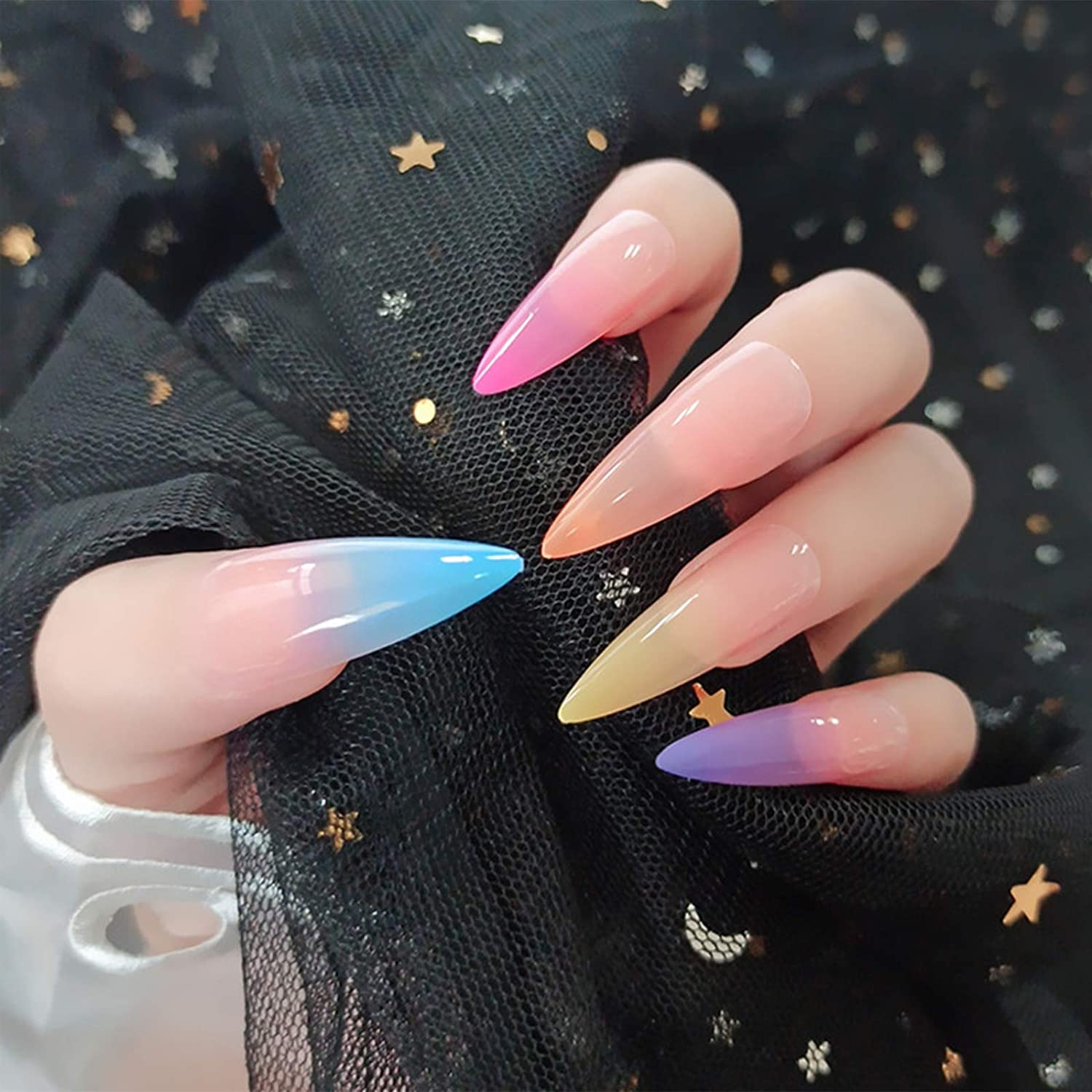 Max 56% OFF Glossy Long Stiletto UV Top Coat False Nails Colorful Max 84% OFF R Gradient