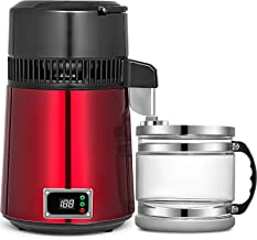 VEVOR Countertop Water Distiller 750W Digital Panel Stainless Steel Purifier Filter 1.1Gal 4L Glass Container Perfect for Home Use, Red