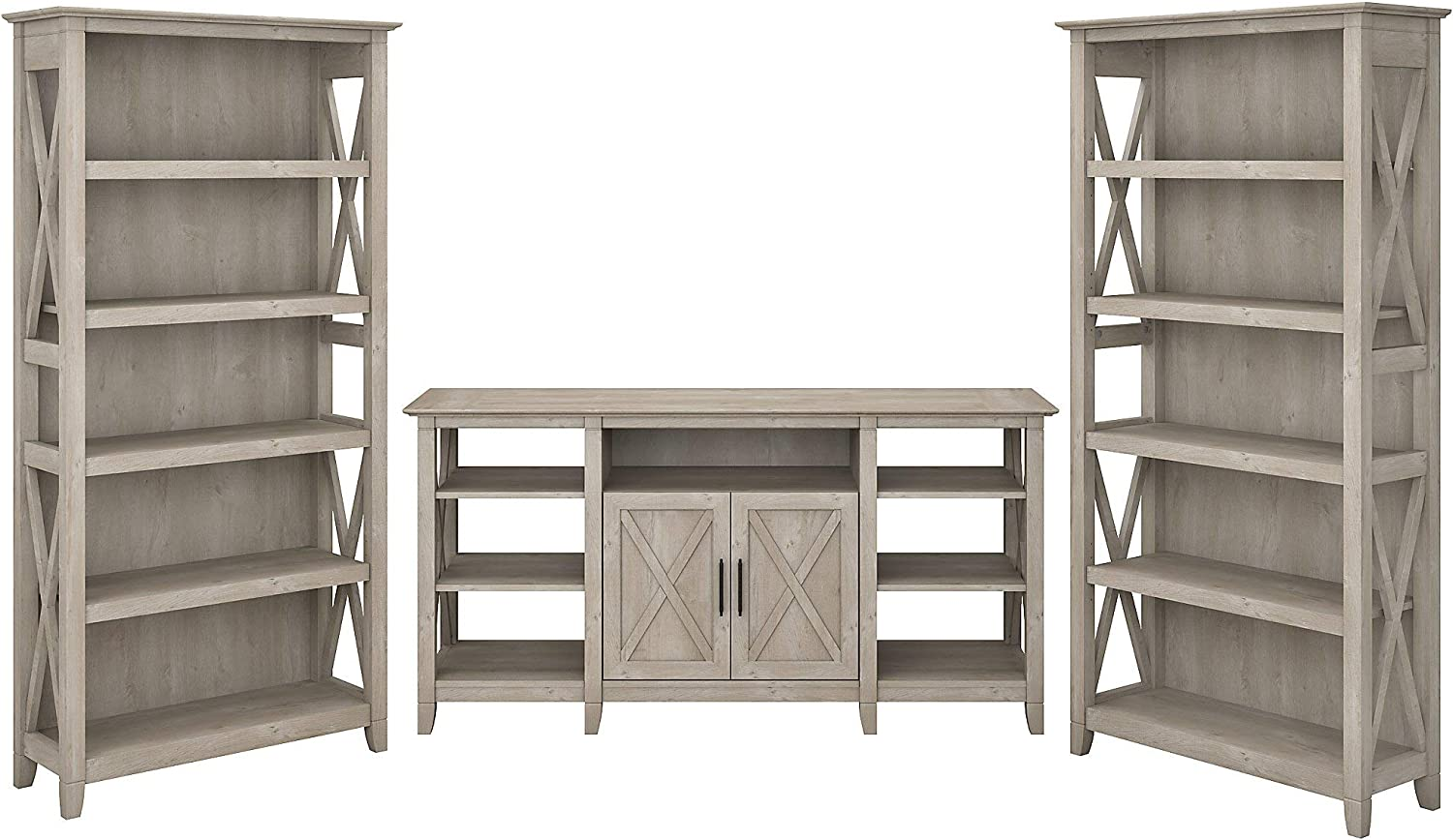 Bush Furniture Key West Tall TV Stand with Set of 2 Bookcases, Washed Gray