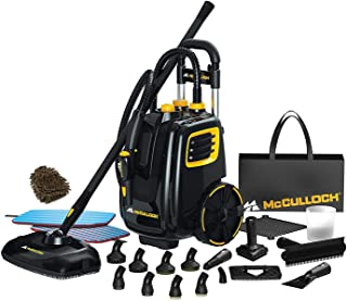 McCulloch Mc1385 Deluxe Canister Steam Cleaner System, Accessories Brass Brush Heavy-Duty Steamer (Complete Set) w/Bonus: Premium Microfiber Cleaner Bundle