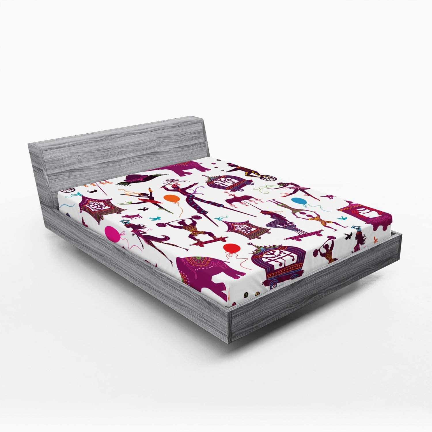Ambesonne Under Regular discount blast sales Circus Fitted Sheet Colorful Ele Magician with