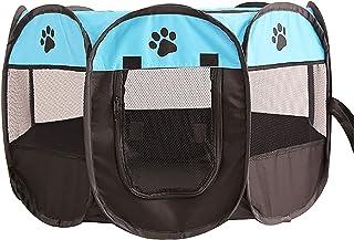 MAXLEAF八角形 ペットケージ メッシュサークル 折り畳み式 防水 ペットテント 通気性 犬/猫用 (青い)