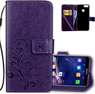 Huawei Honor 7X Wallet Case Leather COTDINFORCA Premium PU Embossed Design Magnetic Closure Protective Cover with Card Slots for Huawei Mate SE/Huawei Honor 7X. Luck Clover Purple