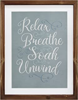 Stratton Home Décor S11583 Relax/Breathe/Soak & Unwind Framed Bath Art, 11.00 W X 1.00 D X 14.00 H, Natural Wood, Blue & White