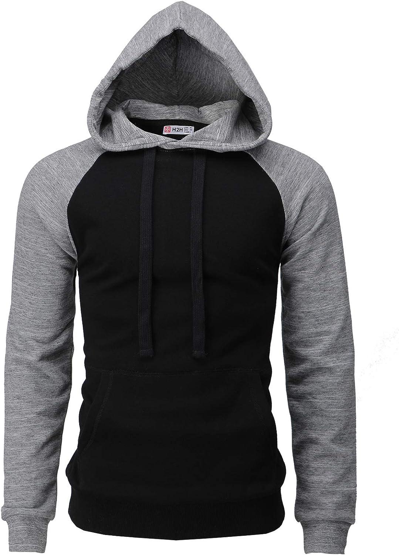 H2H Mens Casual Slim Fit Hoodie Sleeve Long ご注文で当日配送 Sweatshirts Raglan 買収 F