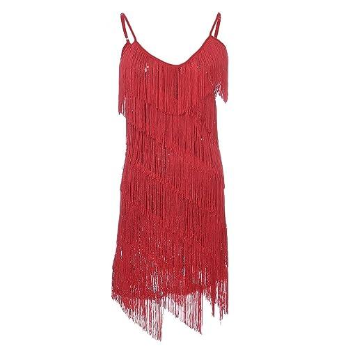 00d01010461cd Anna-Kaci Womens Fringe Sequin Strap Backless 1920s Flapper Party Mini Dress