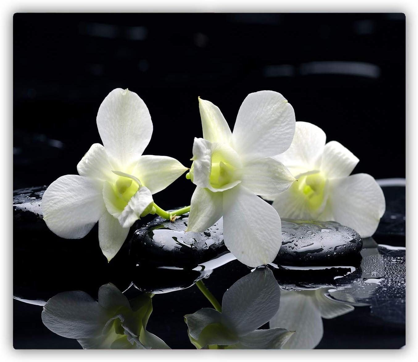 Tulup Tabla De Cortar Cocina 60x52cm - Vidrio Protector De Placa De Induccion - Orquídea
