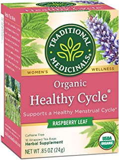 Traditional Medicinals Organic Healthy Cycle Women's Tea Menstrual Cycle Support, 96 Tea Bags Total (Pack of 6)