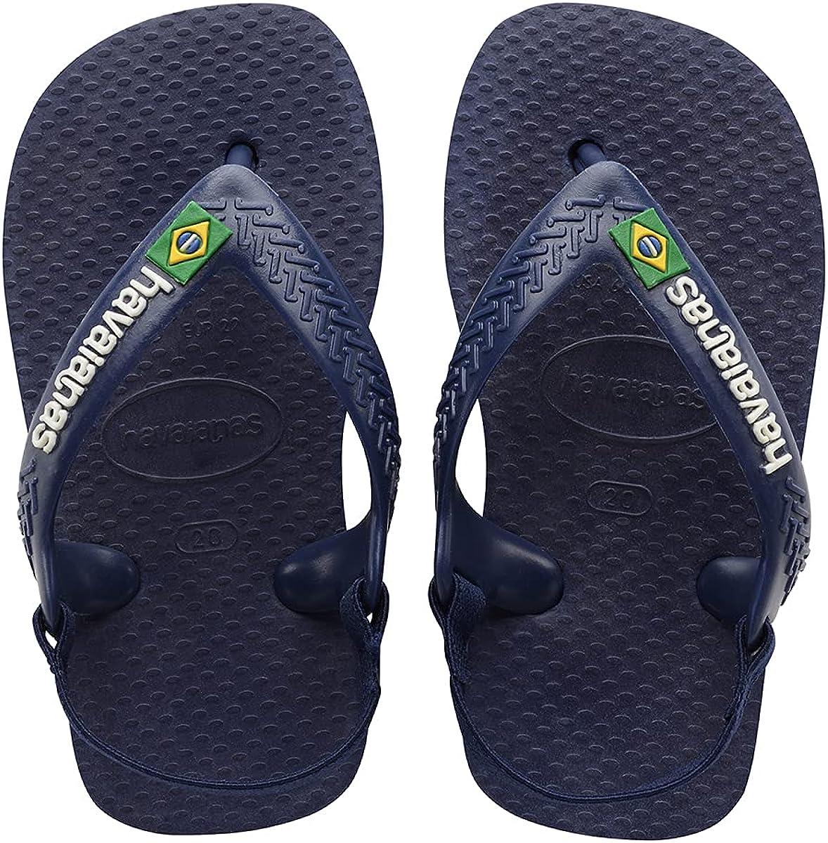 Havaianas Baby Brasil Logo Flip Flops Boys Marine/Yellow Flip Flops Shoes