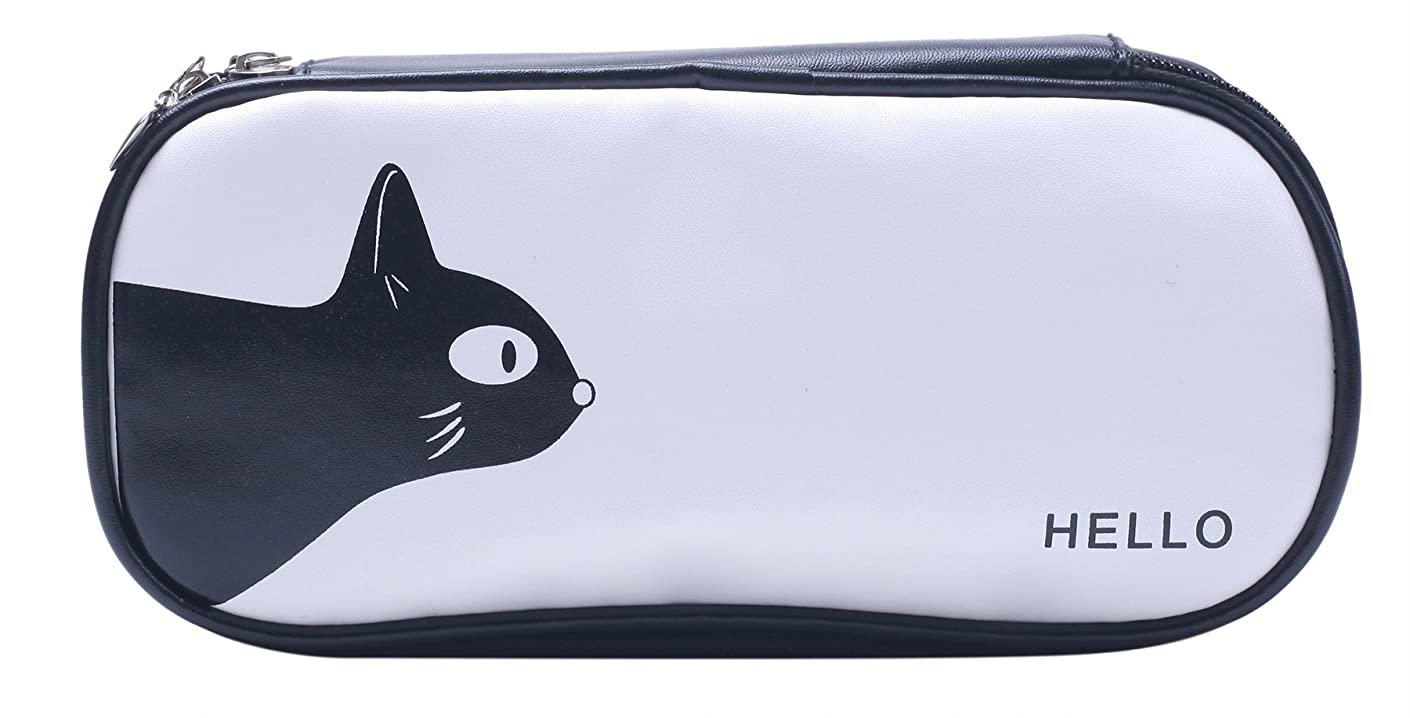 Fly Spray Pencil Pouch PU Leather Black & White Large Capacity Pencil Case Storage Cat Pattern for Teen Girls Durable Students Stationery