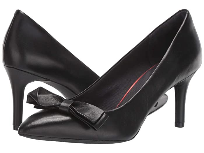 Rockabilly Shoes- Heels, Pumps, Boots, Flats Rockport 75 mm Total Motion Pointy Toe Pump Bow Black Womens Shoes $99.95 AT vintagedancer.com
