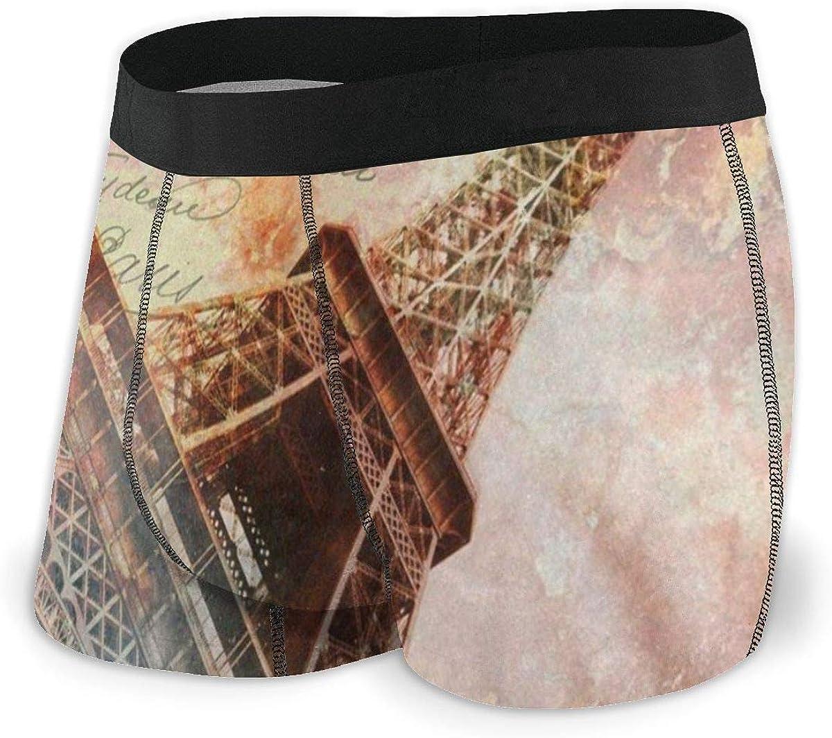 Mens Boxer Briefs Vintage Paris Eiffel Retro Breathable Underwear