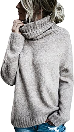 25e9927315f Hestenve Womens Pullovers Sweaters Turtle Neck Long Sleeve Loose Cozy  Chunky Sweater Top Outfit