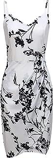 MOQIVGI Women's Spaghetti Strap Midi Floral Pattern Dresses