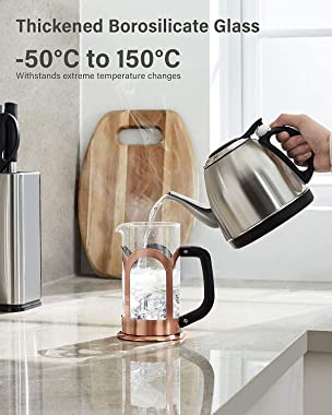 Veken French Press Coffee & Tea Maker, 304 Stainless Steel Heat Resistant Borosilicate Glass Coffee Press with 4 Filter S