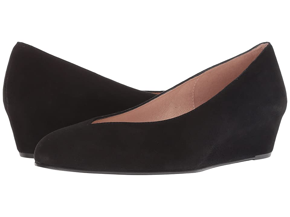 1940s Style Shoes, 40s Shoes French Sole Cubic Wedge Heel Black Suede Womens Shoes $180.00 AT vintagedancer.com