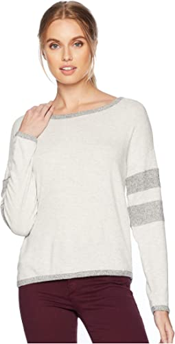 Drop Shoulder Long Sleeve Top w/ Sleeve Stripes