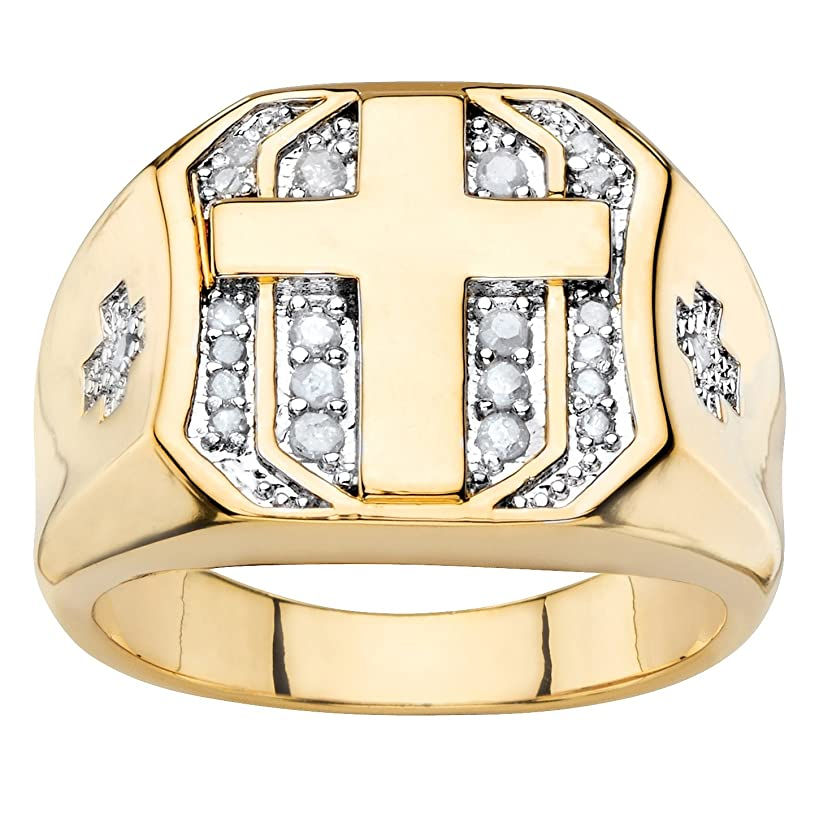 Palm Beach Jewelry Men's White Diamond 14k Yellow Gold-Plated Pave-Style Cross Ring (.20 cttw)