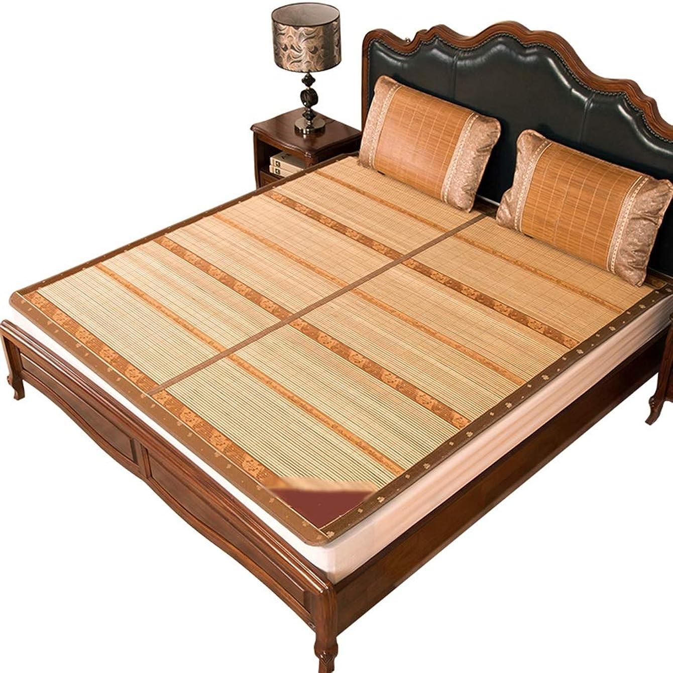 控えめな非常に連鎖夏の眠りマット、炭化竹マット両面アイスシルクシート、冷房、折りたたみ式、シングルダブルシート、健康的で環境に優しい、涼しい 冷感マット (Size : 1.5x1.95m)