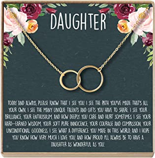 Dear Ava Daughter Necklace: Gift for Daughter, Daughter Jewelry, Mother Daughter, 2 Asymmetrical Circles