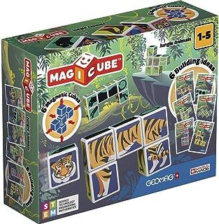 Geomag Magicube 145, zwierzęta dżungli – gra budowlana z magnetycznymi kostkami, 6 kostek
