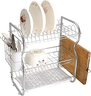 Stainless Steel 3-Tier Dish Drainer Rack Silver Kitchen Drying Drip Tray Cutlery Holder Damask Inspired Floral Motifs in Symmetrical Old Fashioned Design Swirls and Curls Decorative,Silver White,Stora