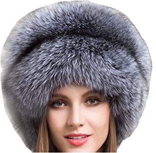 Real Fur Hats for Women Winter Russian Fox Fur Hat Fluffy Fuzzy Furry Tail Outdoor Cold Weather