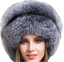 Valpeak Real Fur Hats for Women Winter Russian Fox Fur Hat Fluffy Fuzzy Furry Tail Outdoor Cold Weather