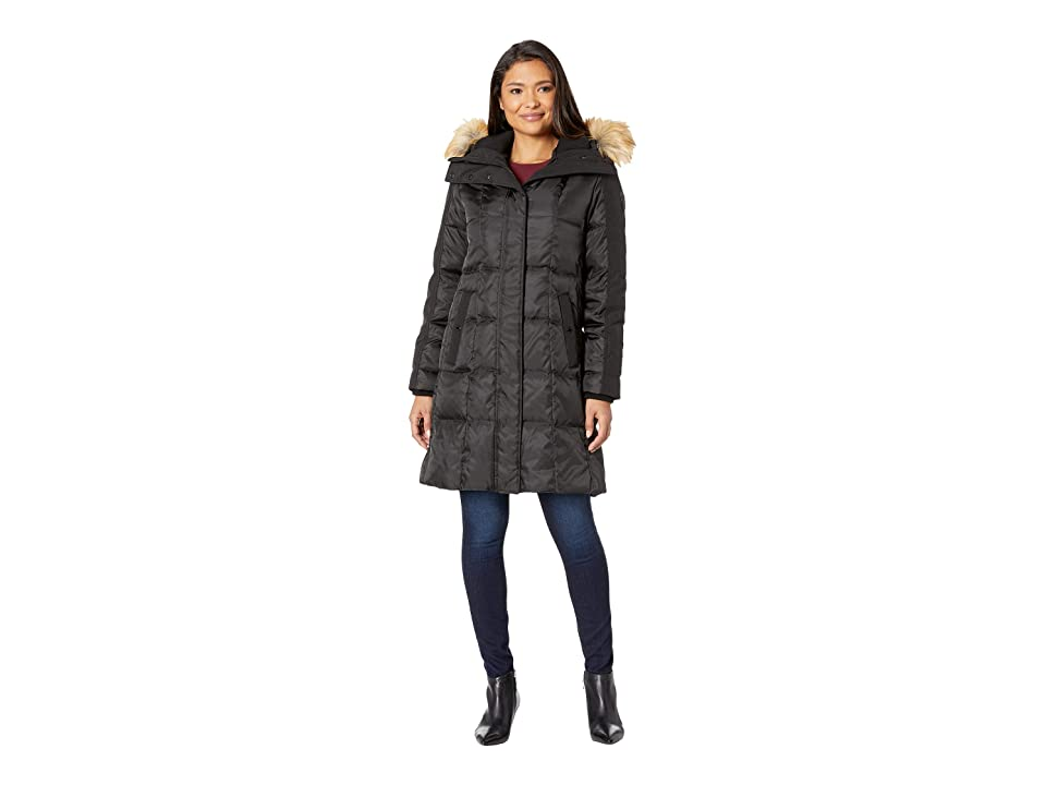 Vince Camuto Heavy Weight Down with Faux Fur Detail and Sherpa Lined Hood R1201 (Black) Women