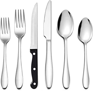 LIANYU 48-Piece Silverware Set with Steak Knives, Stainless Steel Flatware Cutlery Set for 8, Eating Utensils Tableware Inclu