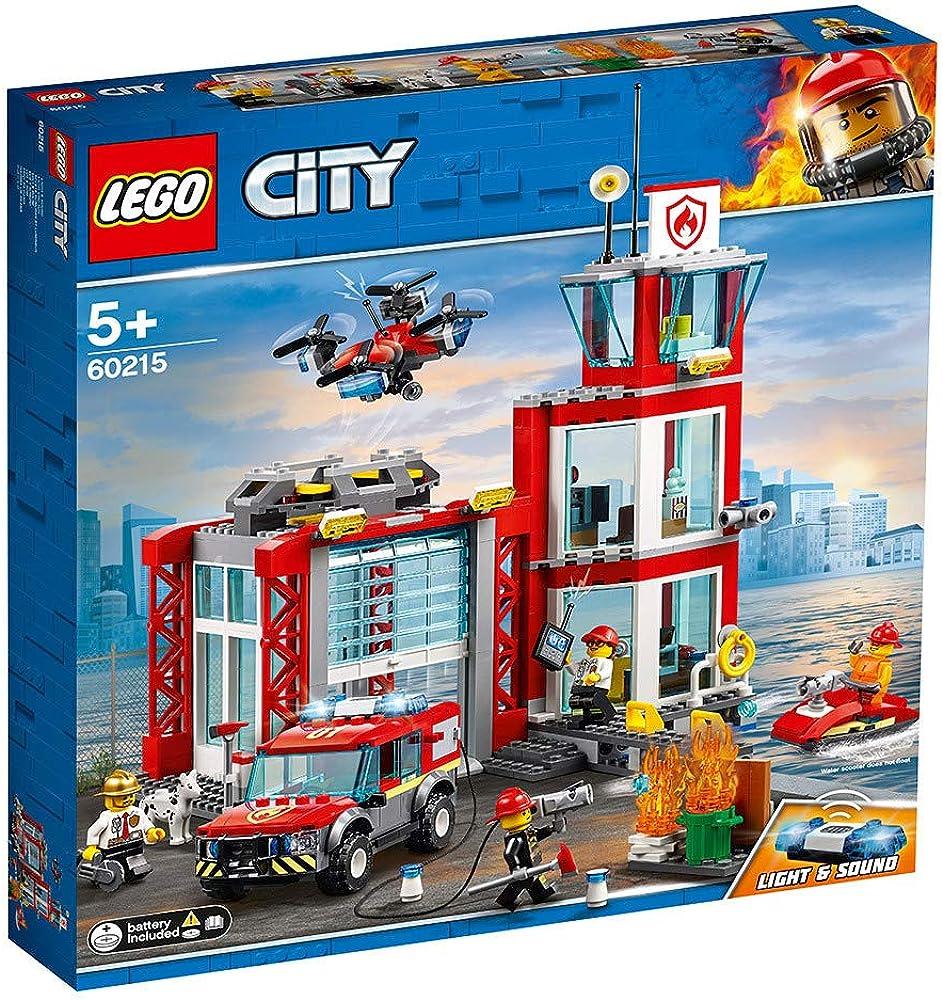 Lego city fire caserma dei pompieri, set di costruzioni con fuoristrada giocattolo, scooter acquatico, drone 60215