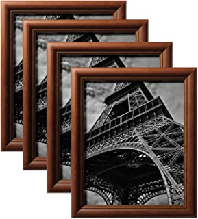 Flexzion Picture/Photo Frames, Wooden Desktop Display Stand Bulk Set w/Easel-Back Hook - 8x10 Inch (Walnut Brown, 4-Pack) Wall Hanging System for Pre-Cut Board Mat Art Print Poster Document Artwork