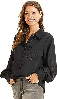 SONJA BETRO Women's Pocket Contrast Stitch Long Sleeve Shirt Blouse Top Large Black