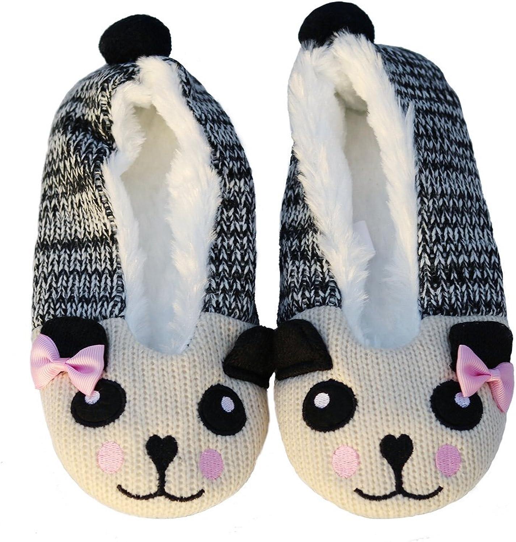 Pandaloon Womens Panda Knit Warm Plush Bear Animal Slippers