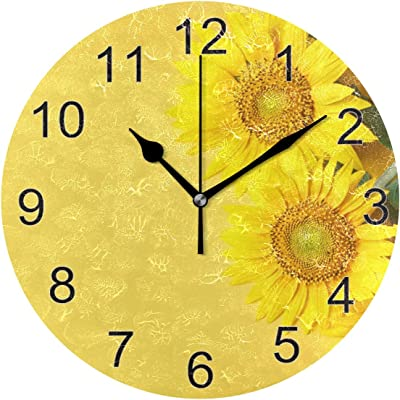 Amazon Com Ffyho Beautiful Sunflower Design Wall Clock 9 5in Unique Yellow Flowers Background Non Ticking Silent Desk Clocks Design For Bedroom Bathroom Lobby Decoration Home Kitchen