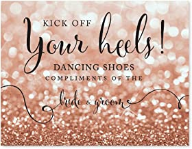 Andaz Press Wedding Party Signs, Glitzy Rose Gold Glitter, 8.5x11-inch, Dancing Shoes - Kick Off Your Heels!, 1-Pack, Bokeh Colored Party Supplies