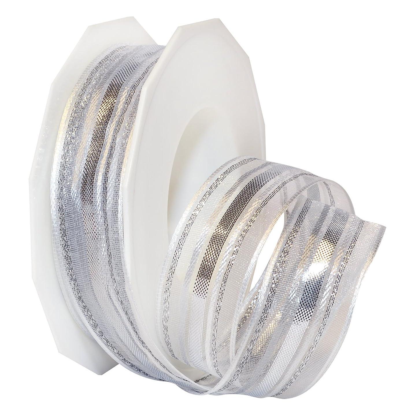 Morex Ribbon French Wired Polyester/Metallic Madagaskar Ribbon, 1