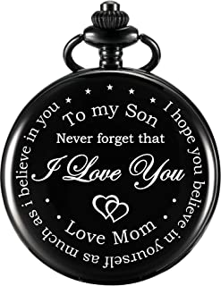 Pocket Watch Gift for Son-Never Forget That, I Love You, Love Mom-from Mother to Son Pocket Watch with Chain