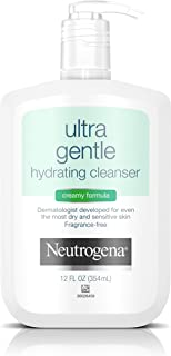 Neutrogena Ultra Gentle Hydrating Daily Facial Cleanser for Sensitive Skin, Oil-Free, Soap-Free, Hypoallergenic & Non-Comedogenic Creamy Face Wash,12 Fl Oz (Pack of 1)
