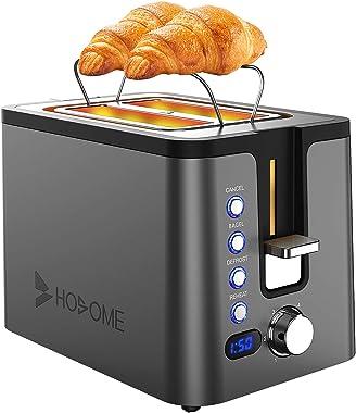 Tostador de pan de acero inoxidable Hosome con 6 ajustes de navegación, tostador de ranura extra ancha con estante para calen