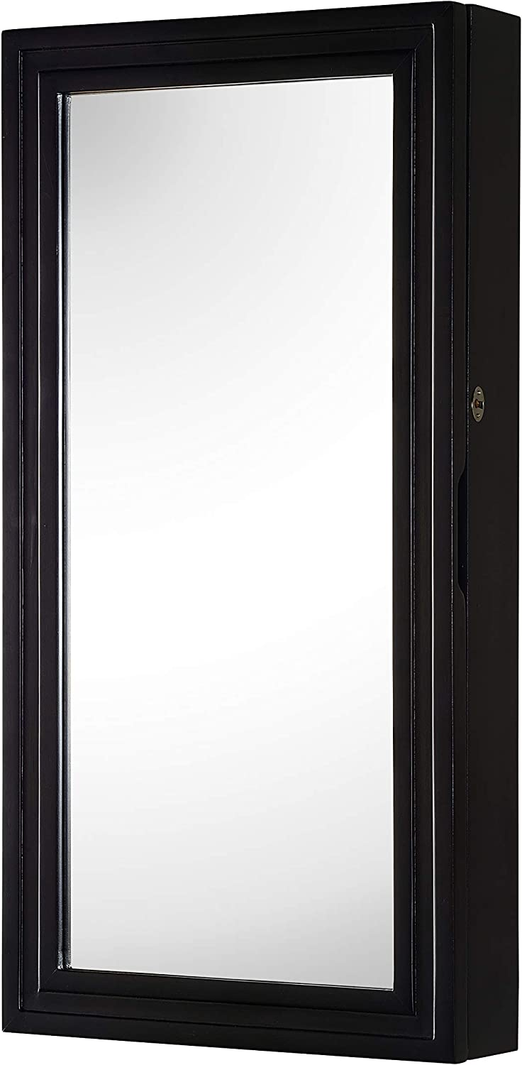 Nathan Direct Laney Lockable Wall-Mount Jewelry Armoire with Ring Holders, Earring Hooks, Necklace Hooks, and Compartments, Black