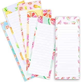 Magnetic To Do List Notepads, Fruit Design, 60 Sheets Per Pad (3.5 x 9 in, 6-Pack)