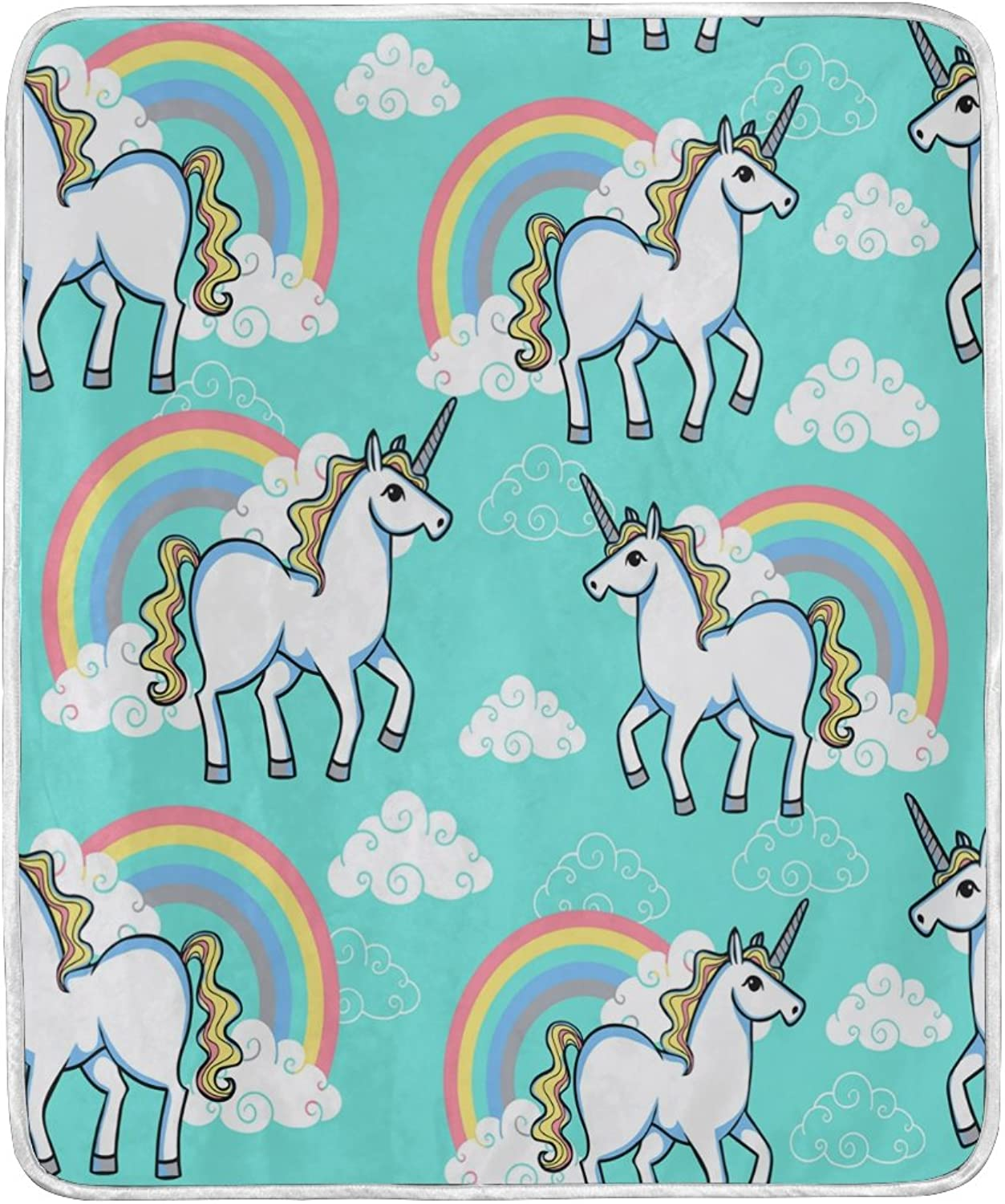 WOZO Home Decor Rainbow Unicorn Cloud Blanket Soft Warm Blankets for Bed Couch Sofa Lightweight Travelling Camping 60 x 50 Inch Throw Size for Kids Boys Women