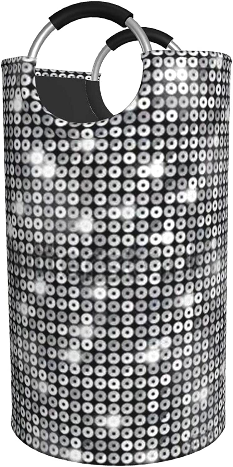 Silver Sequin Sparkle All items free shipping Pattern Print Hamper mart L Waterproof Laundry