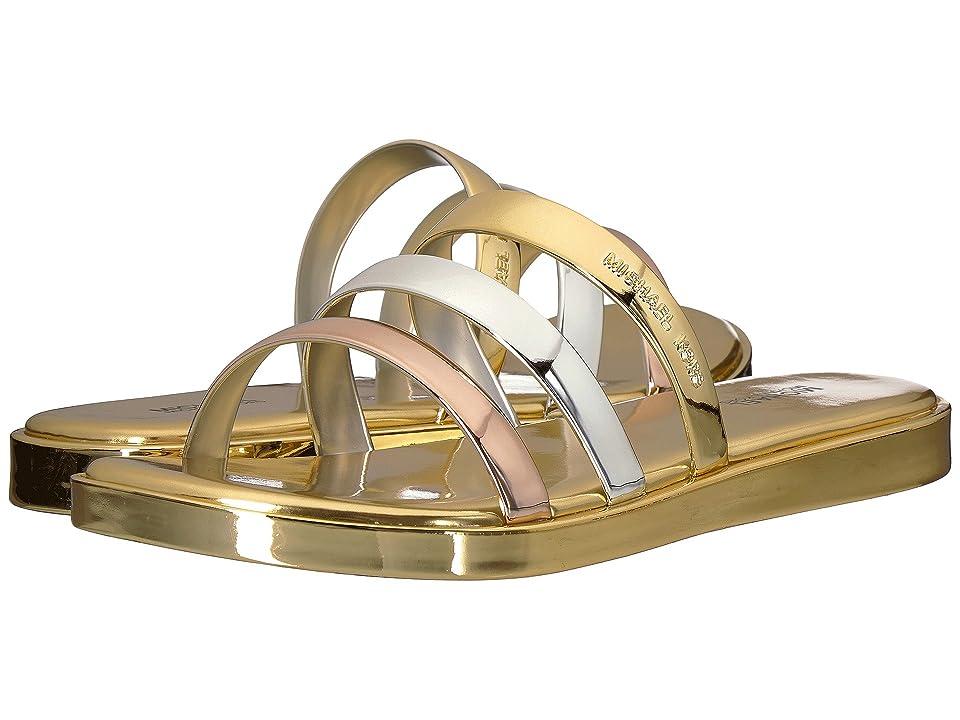 MICHAEL Michael Kors Keiko Slide (Gold/Silver Metallic PVC) Women