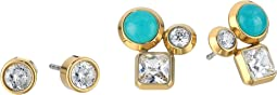 Michael Kors - Tone Crystal and Blue Mountain Jade Cluster Stud Earrings Set