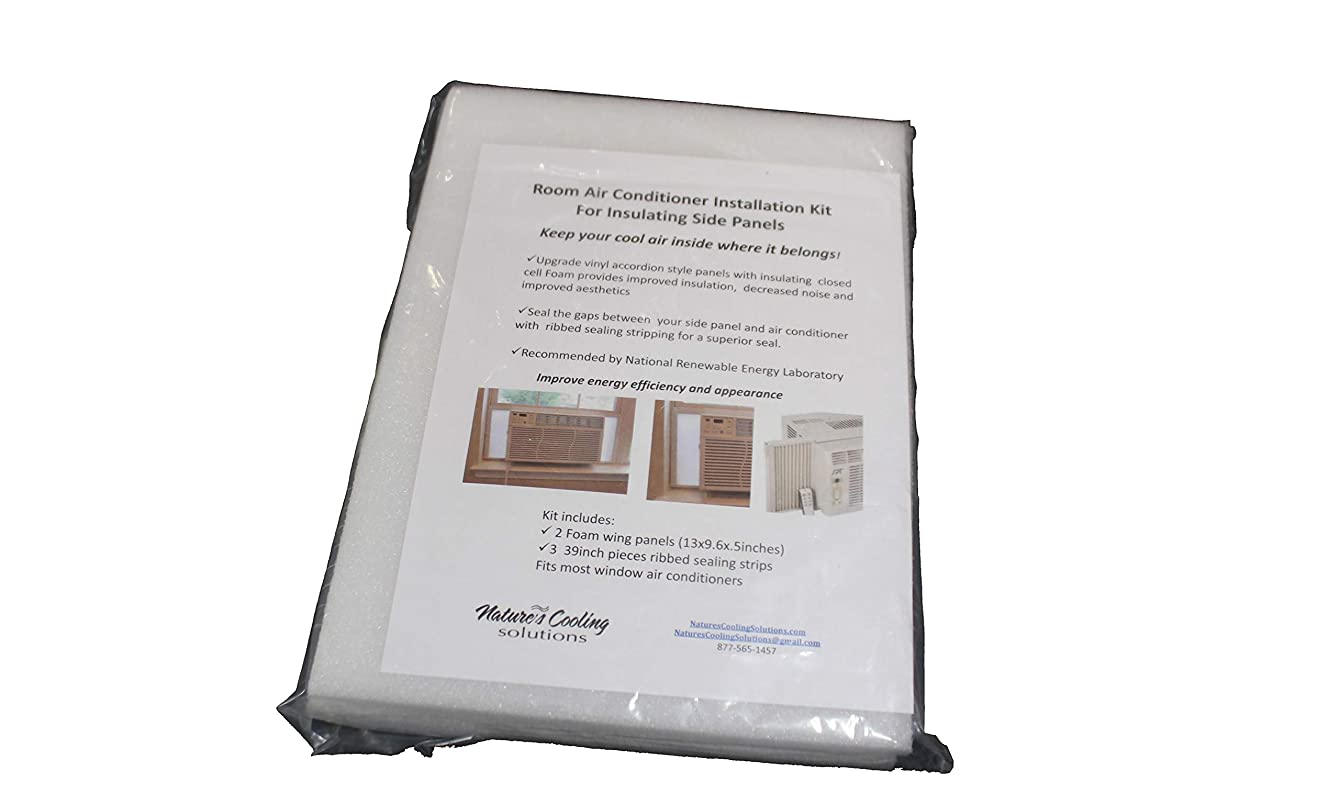 """Nature's Cooling Solutions Window AC Insulating Side Panels + 17.5"""" Tall+ Set of (2) + Semi Rigid Closed Cell + Waterproof +UV+ Size: 17.5 x 9.6 x .75 inches"""