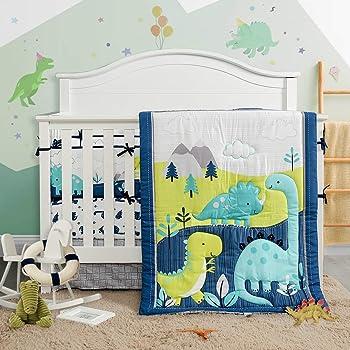 3 Piece Crib Bedding Set Navy Teal and Yellow Modern Dinosaur Baby Boys or Girls Dino Nursery Cute Style (Crib)