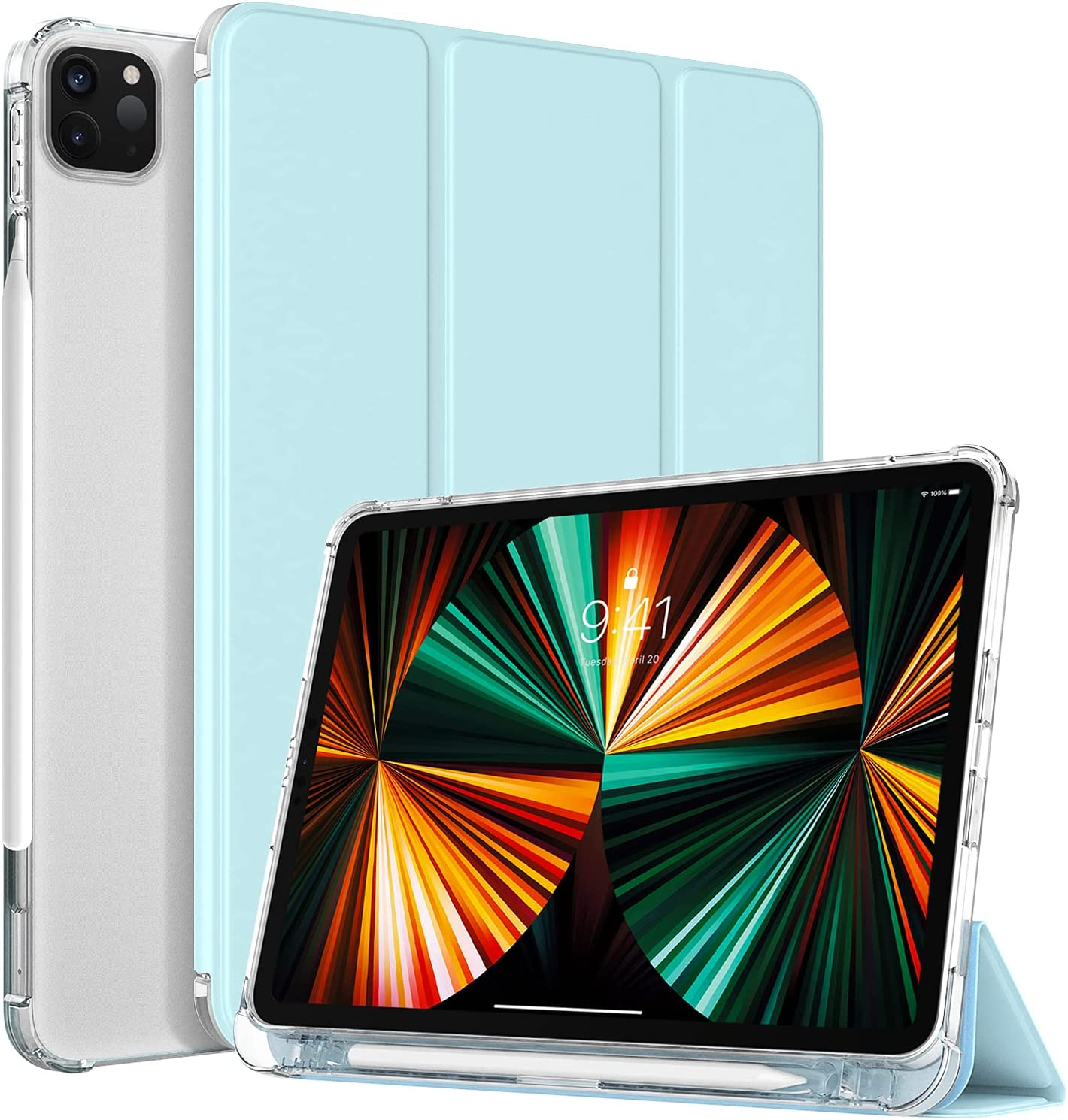 TiMOVO Case for New iPad Pro 12.9 inch 2021 (5th Gen) with Pencil Holder, [Light Weight] Slim Back Protective Smart Case & Support 2nd Gen Apple Pencil Charging & Auto Wake/Sleep, Sky Blue